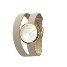 Cream / Gold Glitter Wraparound Watch, Gold finishes image number 1