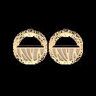 Boucles d'oreilles Créoles Perroquet, Finition dorée, Crème / Or Paillette image number 1