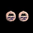 Boucles d'oreilles Petites Créoles Fleurs du Nil, Finition dorée rose, Lapis / Papyrus image number 1