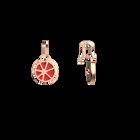 Boucles d'oreilles Dormeuses Solaire, Finition dorée rose, Rouge Orangé / Taupe Soft  image number 3