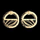 Boucles d'oreilles Créoles Vibrations, Finition dorée, Noir Grainé / Magenta image number 2