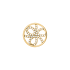 Pétales token Round 16 mm, Gold finish, cubic zirconia image number 1