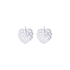 Monstera Earrings, Silver finish image number 1