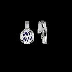 Boucles d'oreilles Dormeuses Perroquet, Finition argentée, Indigo / Blanc Cassé image number 3
