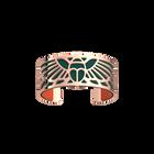 Manchette Scarabée, Finition dorée rose, Bleu Paon / Feu Vif image number 1