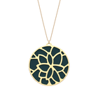 Nénuphar Necklace, Gold finish, Petrol blue / Raspberry image number 1