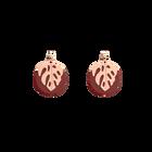 Boucles d'oreilles Les Audacieuses Monstera, Finition dorée rose, Carmin / Coquillage image number 1
