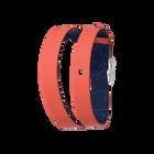 Bracelet cuir Double tour, Corail / Marine, boucle argentée image number 1