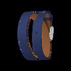 Bracelet cuir Double tour, Bleu Denim / Canyon, boucle argentée image number 1