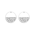 Nénuphar Hoop Earrings, Silver finish, Black / White image number 2