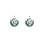 Monstera Les Audacieuses Earrings, Silver finish, Almond Green / White Glitter image number 1