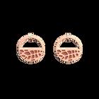 Boucles d'oreilles Petites Créoles Fougères, Finition dorée rose, Terracotta / Bleu Lagon image number 1