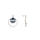 Ibiza Double Round 16mm Earrings, Silver finish, Sun / Navy Blue image number 4