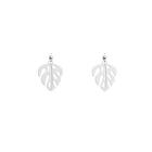 Monstera Round 25 mm Earrings, Silver finish image number 1