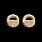 Boucles d'oreilles Petites Créoles Pétales, Finition dorée, Gris Clair / Rose Clair image number 2