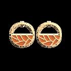 Boucles d'oreilles Créoles Tresse, Finition dorée, Orange Pailleté / Orange Soft image number 1