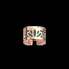 Bague Lotus, Finition dorée rose, Vert Amande / Blanc Pailletté image number 2