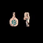 Boucles d'oreilles Dormeuses Lotus, Finition dorée rose, Terracotta / Bleu Lagon image number 4