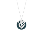 Monstera Necklace, Silver finish, Petrol blue / Raspberry image number 1