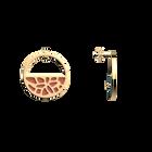 Boucles d'oreilles Petites Créoles Nénuphar, Finition dorée, Bleu Minéral / Argile Rose image number 4