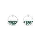 Perroquet Small Small Hoop Earrings, Silver finish, Almond Green / White Glitter image number 1