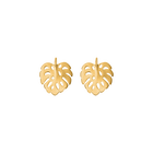 Monstera Earrings, Gold finish image number 1