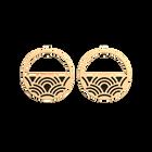 Boucles d'oreilles Créoles Poisson, Finition dorée, Noir Pailleté / Rouge Soft image number 1