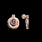 Boucles d'oreilles Dormeuses Double Rond Lotus, Finition dorée rose, Nuit Étoilée / Brun Écorce image number 3