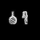 Ruban Sleeper Earrings, Silver finish, Black / White image number 3