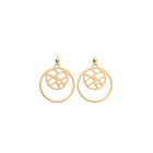Fougères Double Round 16mm Earrings, Gold finish image number 1