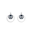 Ibiza Double Round 16mm Earrings, Silver finish, Sun / Navy Blue image number 2