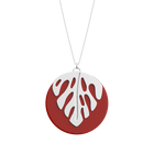 Monstera Necklace, Silver Finish - Patent red / Black image