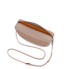 Taupe Demi-Lune Dentelle Bag, Résille pattern - Yellow lining image number 2