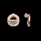 Boucles d'oreilles Petites Créoles Fougères, Finition dorée rose, Terracotta / Bleu Lagon image number 4