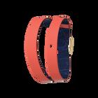 Bracelet cuir Double tour, Corail / Marine, boucle dorée image number 1