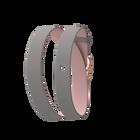 Bracelet cuir Double tour, Rose clair / Gris clair, boucle dorée rose image number 1