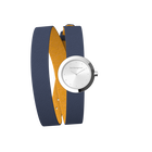 Sun / Navy Blue Wraparound Watch, Silver finishes image number 4