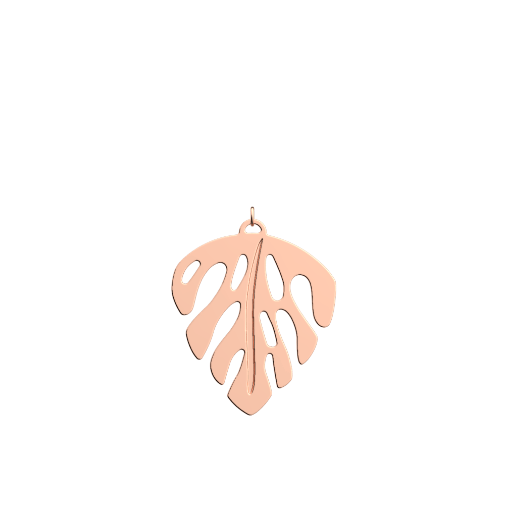 Monstera Pendant round 45 mm, Rose gold finish image number 1
