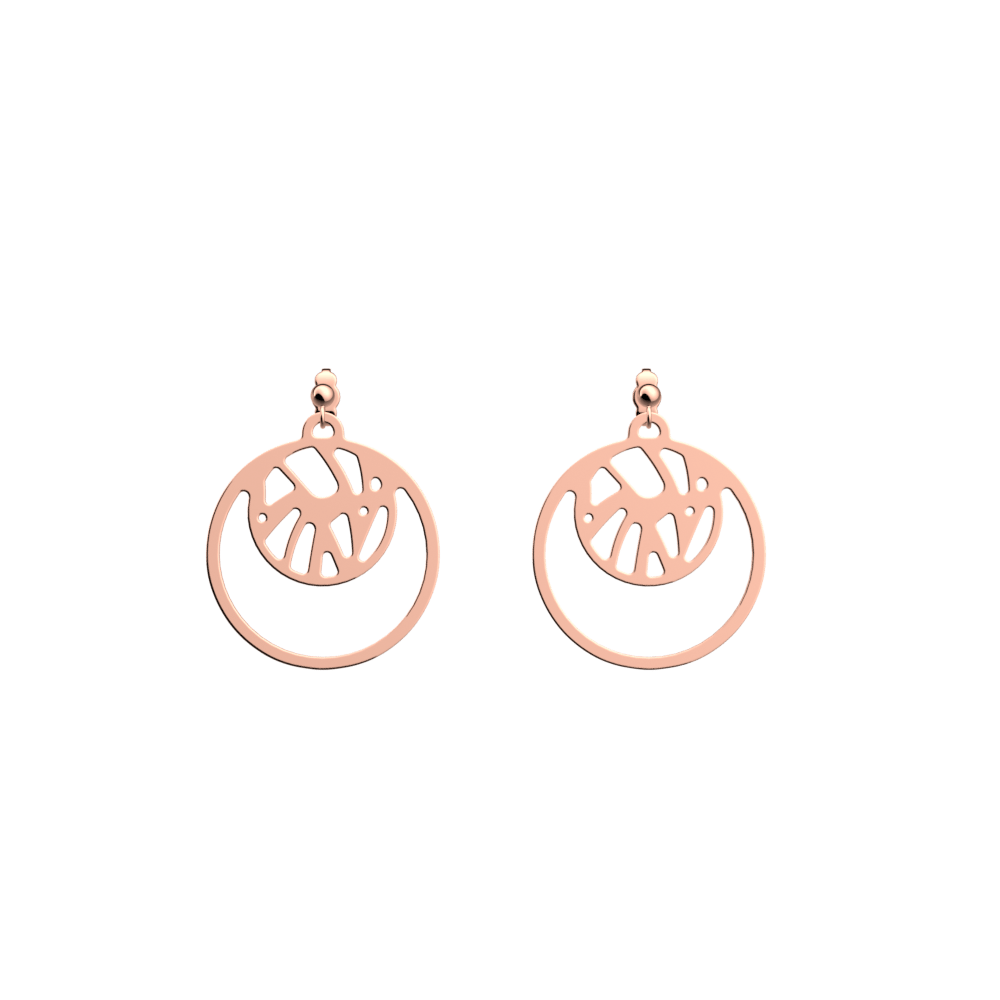Perroquet Double Round 16mm Earrings, Rose gold finish image number 1