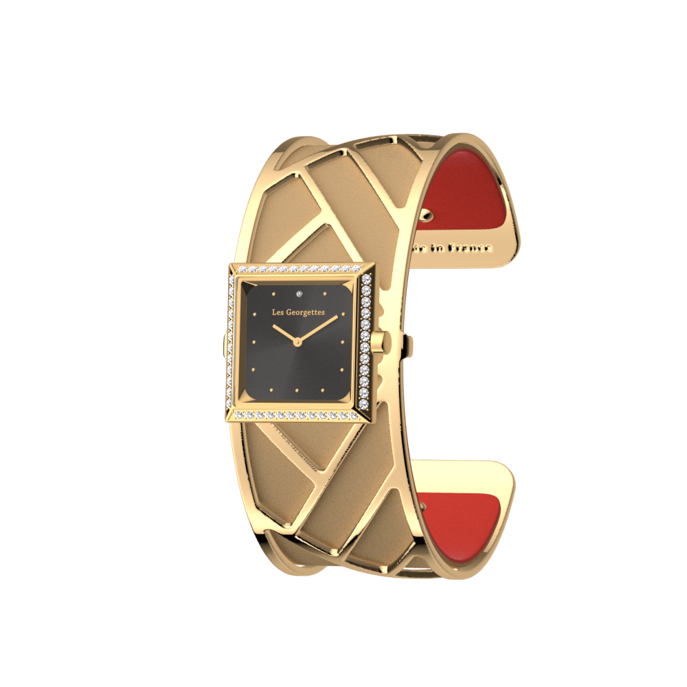 Promenade Watch, Gold finish, Soft Red / Beige image number 1