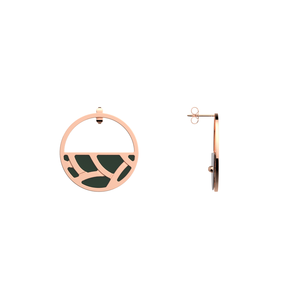 Tresse Small Hoop Earrings, Rose gold finish, Soft Pink / Petrol Green image number 4