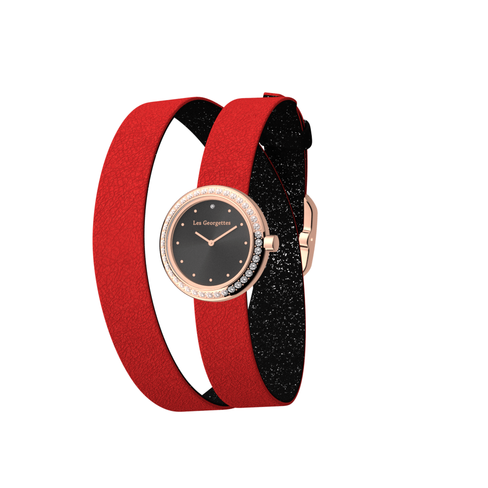 Black Glitter / Red Wraparound Watch, Rose Gold finishes image number 1