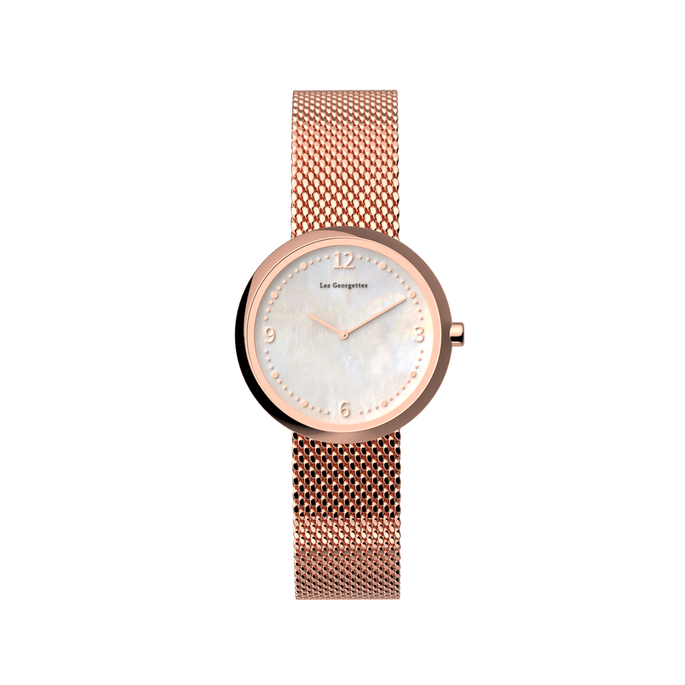 Montre maille Milanaise, Finition dorée rose image number 2
