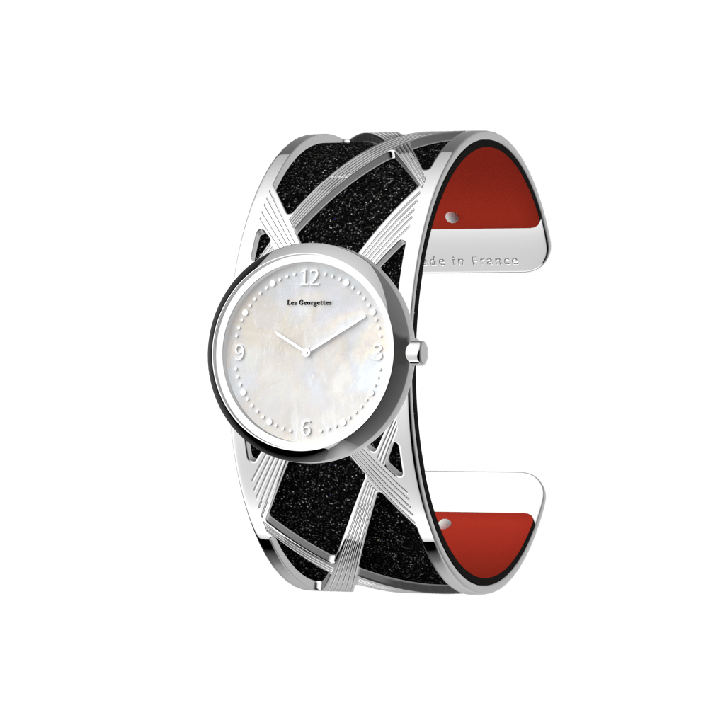 Divine Watch, Silver finish, Black Glitter / Red image number 1
