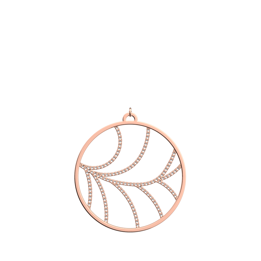 Courbe Pendant round 45 mm, Rose gold finish image number 1