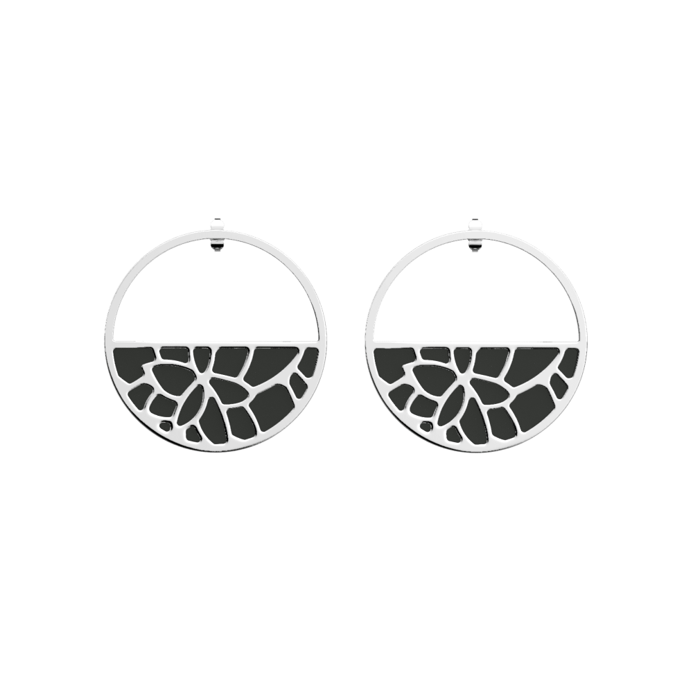 Nénuphar Hoop Earrings, Silver finish, Black / White image number 1