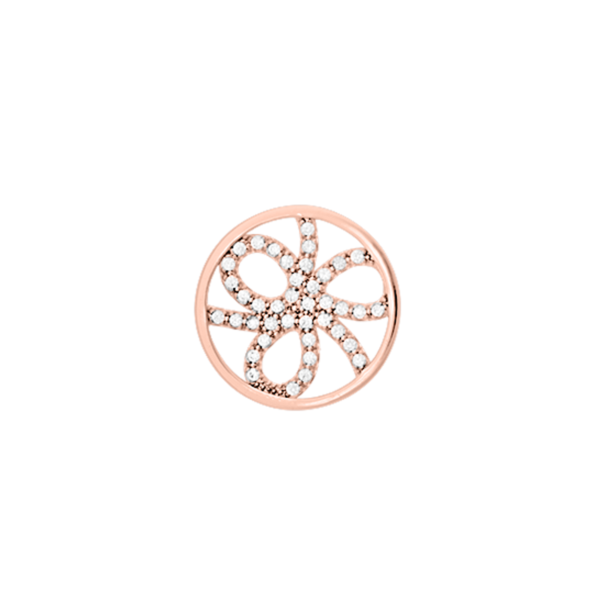 Pétales token Round 16 mm, Rose gold finish, cubic zirconia image number 1