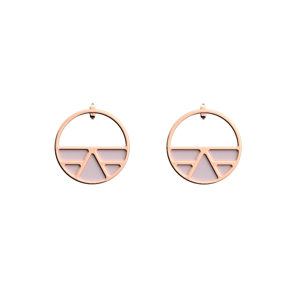 Ibiza Small Small Hoop Earrings, Rose gold finish, Soft Pink / Petrol Green image number 1