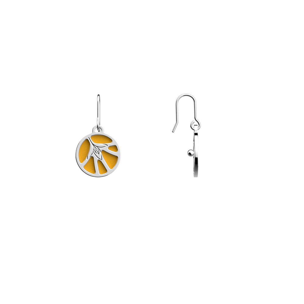 Fleurs du Nil Sleeper Earrings, Silver finish, Sun / Navy Blue image number 3