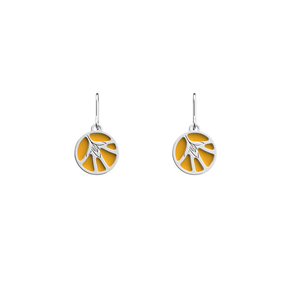 Fleurs du Nil Sleeper Earrings, Silver finish, Sun / Navy Blue image number 1